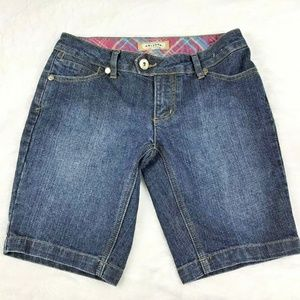 AriZona Denim Shorts Dark Wash Blue Flap Pockets